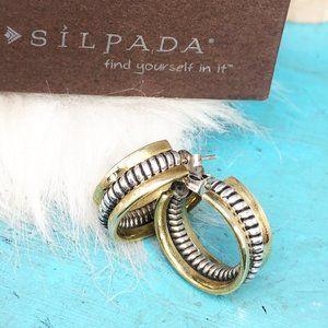 Silpada Twisted Rope 925 Brass Hoop Earrings P0382